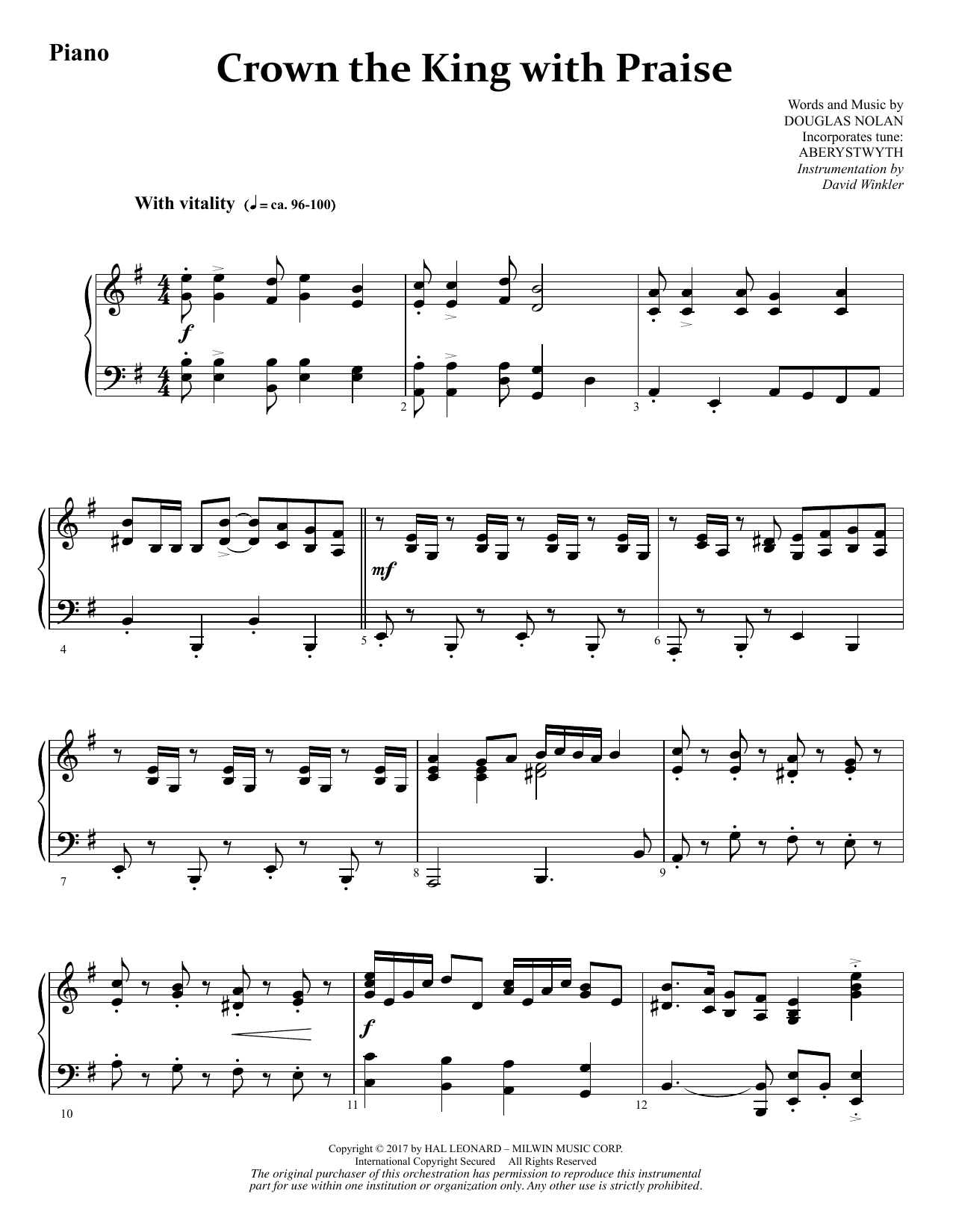 Douglas Nolan Crown the King with Praise - Piano sheet music notes and chords. Download Printable PDF.