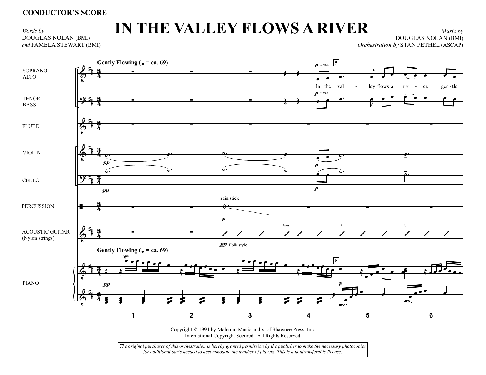 Douglas Nolan In the Valley Flows a River - Full Score sheet music notes and chords. Download Printable PDF.
