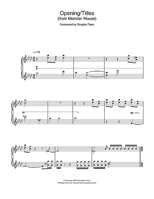 Douglas Pipes Monster House (Opening/Titles) sheet music notes and chords. Download Printable PDF.