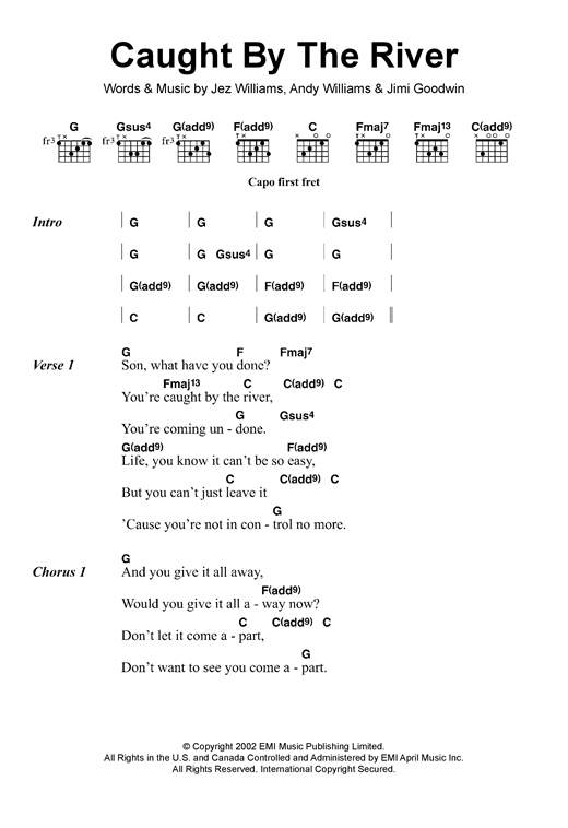 Doves Caught By The River sheet music notes and chords. Download Printable PDF.