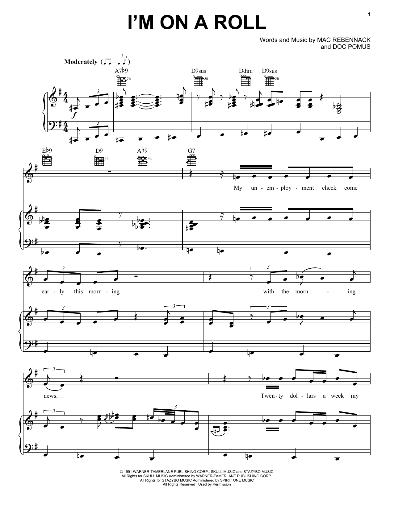 Dr. John I'm On A Roll sheet music notes and chords. Download Printable PDF.