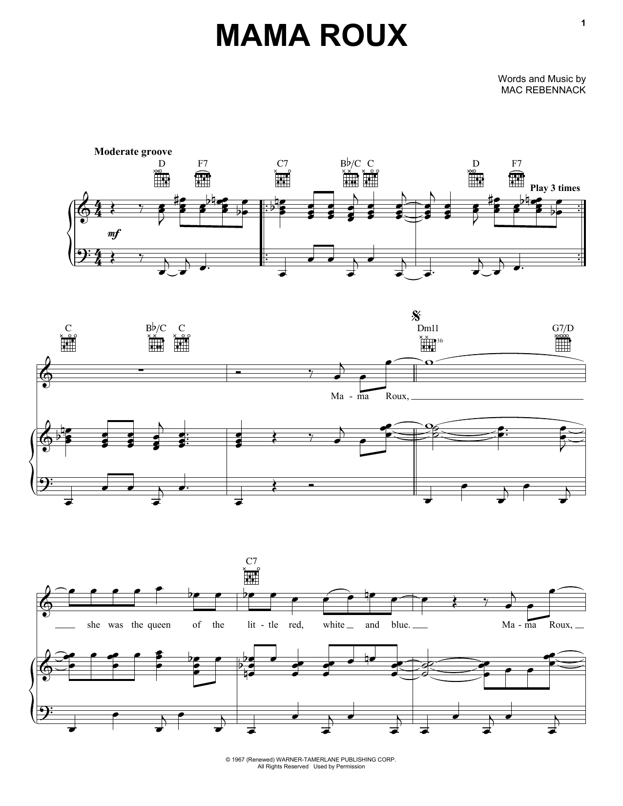Dr. John Mama Roux sheet music notes and chords. Download Printable PDF.
