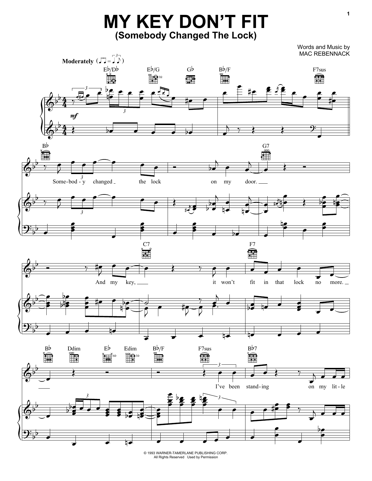 Dr. John My Key Don't Fit (Somebody Changed The Lock) sheet music notes and chords