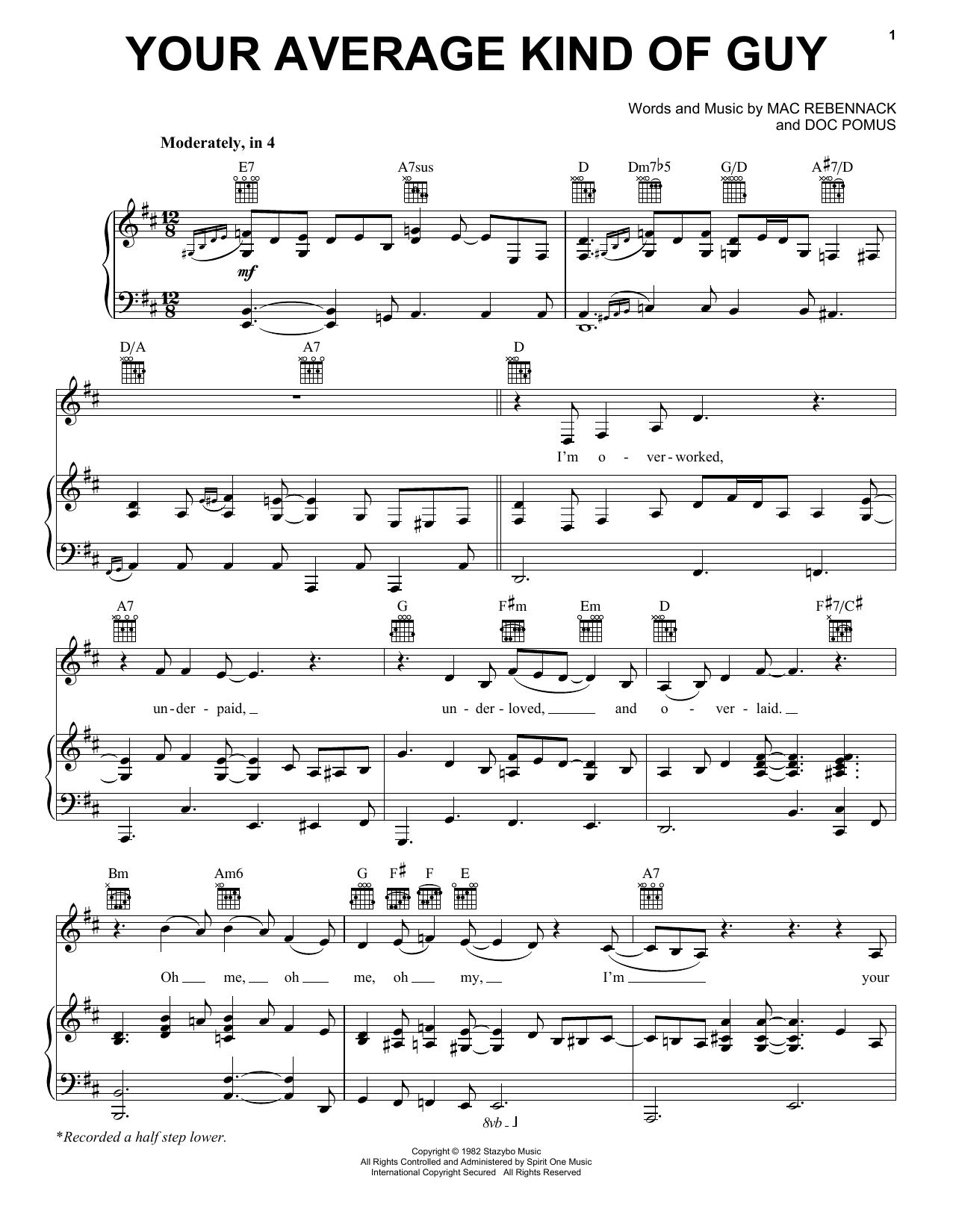 Dr. John Your Average Kind Of Guy sheet music notes and chords. Download Printable PDF.