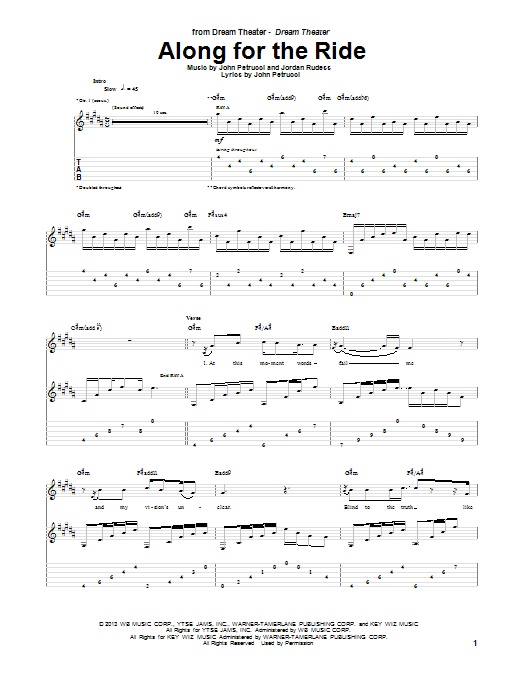Dream Theater Along For The Ride sheet music notes and chords. Download Printable PDF.