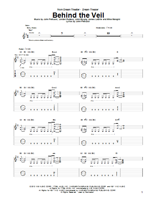 Dream Theater Behind The Veil sheet music notes and chords. Download Printable PDF.