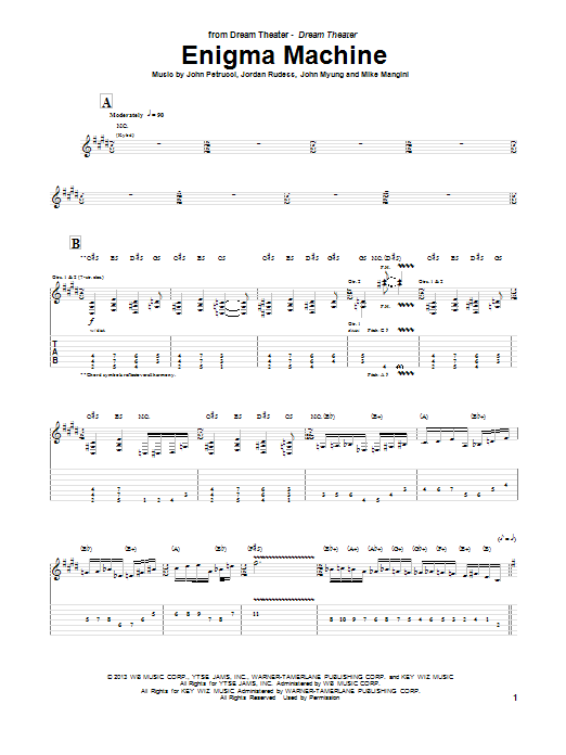 Dream Theater Enigma Machine sheet music notes and chords. Download Printable PDF.