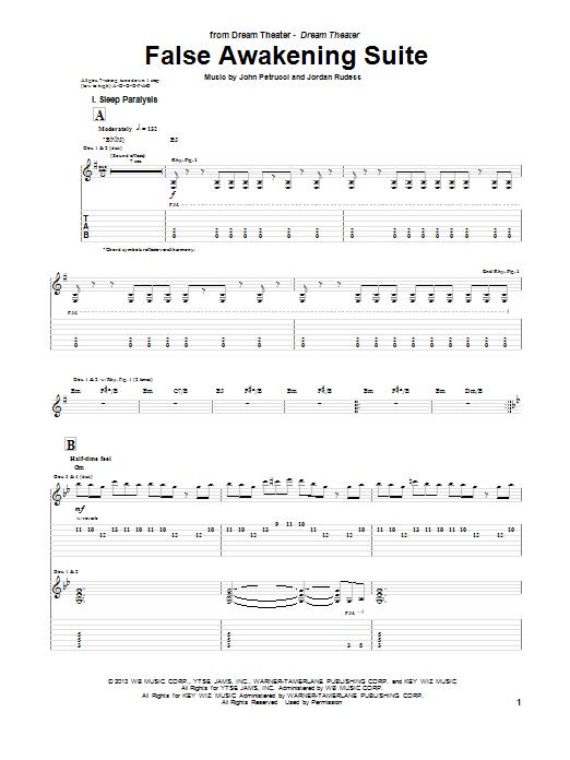 Dream Theater False Awakening Suite sheet music notes and chords. Download Printable PDF.