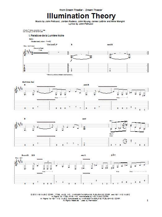 Dream Theater Illumination Theory sheet music notes and chords. Download Printable PDF.