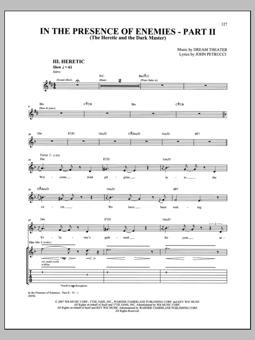 Dream Theater In The Presence Of Enemies - Part II sheet music notes and chords. Download Printable PDF.