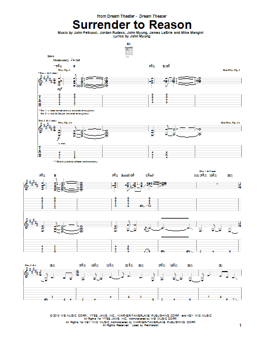 Dream Theater Surrender To Reason sheet music notes and chords. Download Printable PDF.