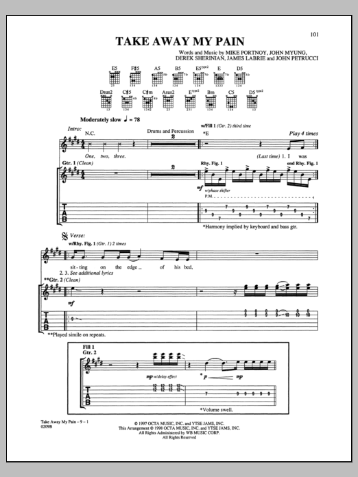 Dream Theater Take Away My Pain sheet music notes and chords. Download Printable PDF.