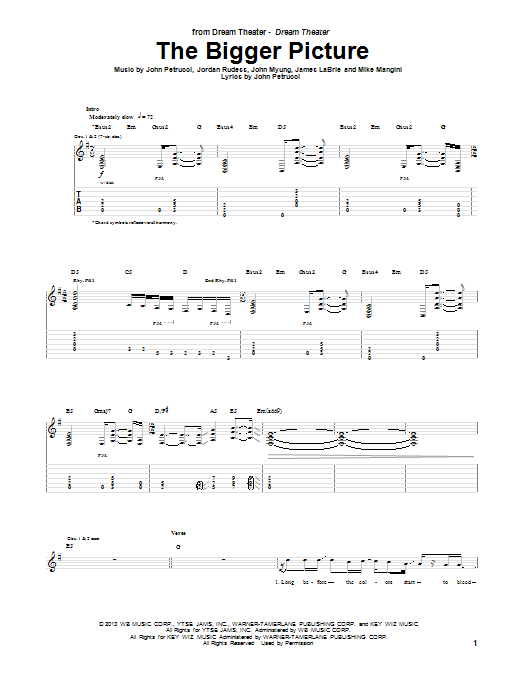 Dream Theater The Bigger Picture sheet music notes and chords. Download Printable PDF.