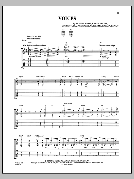 Dream Theater Voices sheet music notes and chords. Download Printable PDF.