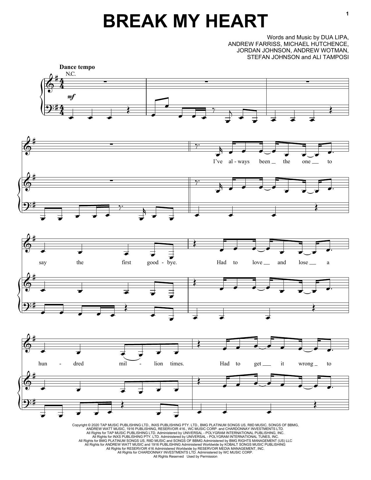 Dua Lipa Break My Heart sheet music notes and chords. Download Printable PDF.