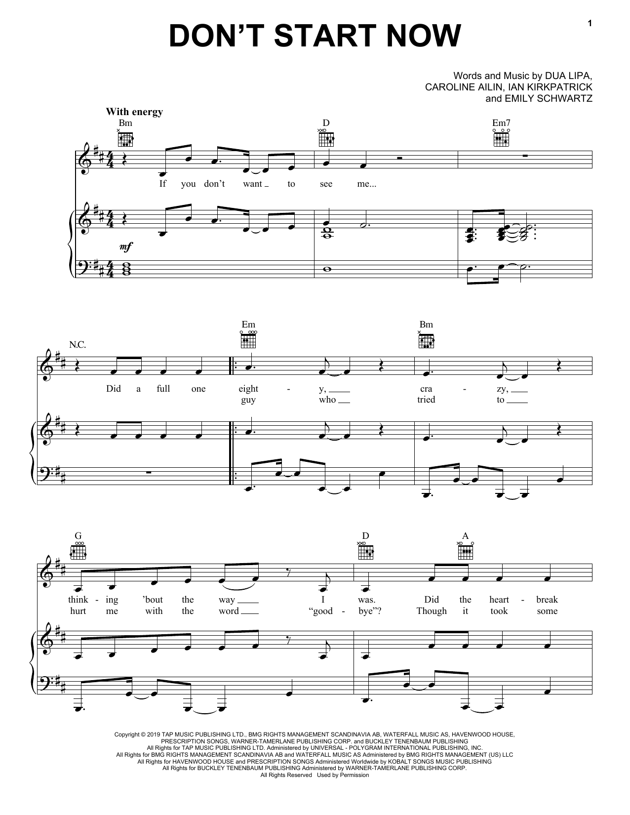 Dua Lipa Don't Start Now sheet music notes and chords. Download Printable PDF.