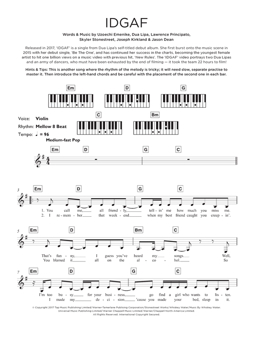 Dua Lipa IDGAF sheet music notes and chords