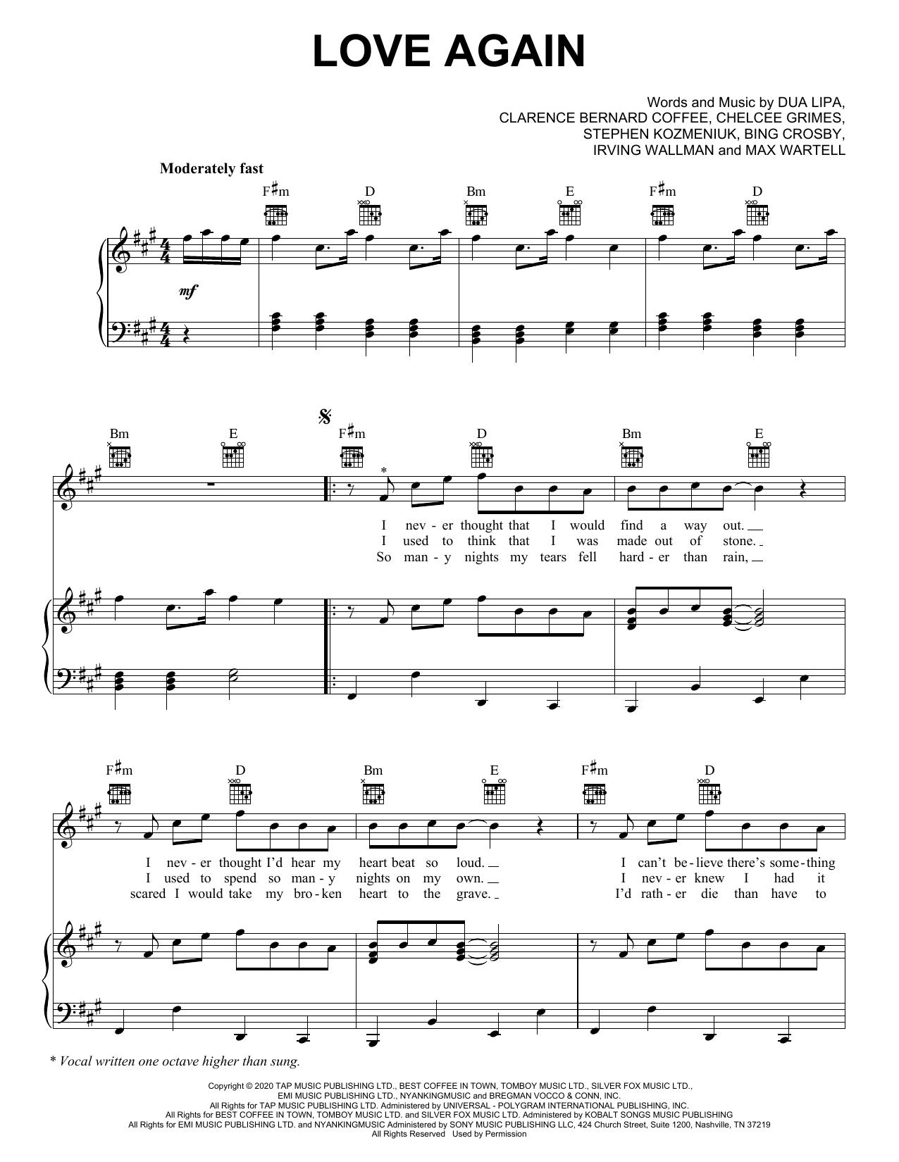 Dua Lipa Love Again sheet music notes and chords. Download Printable PDF.