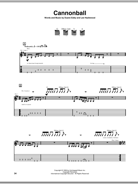 Duane Eddy Cannonball sheet music notes and chords. Download Printable PDF.