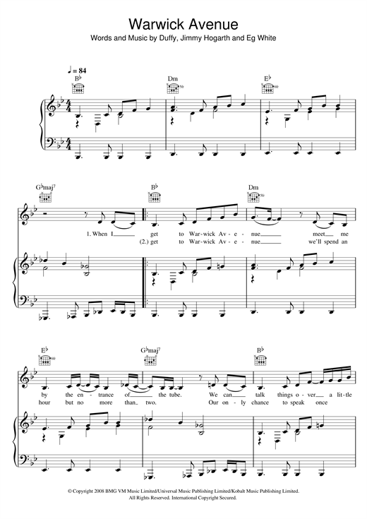 Duffy Warwick Avenue sheet music notes and chords