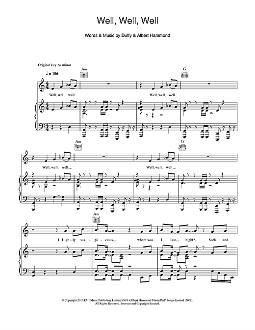 Duffy Well, Well, Well sheet music notes and chords. Download Printable PDF.