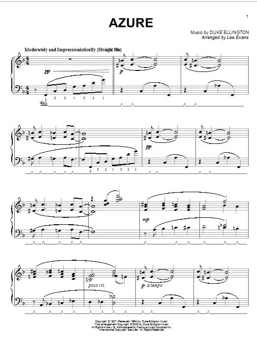 Duke Ellington Azure sheet music notes and chords. Download Printable PDF.