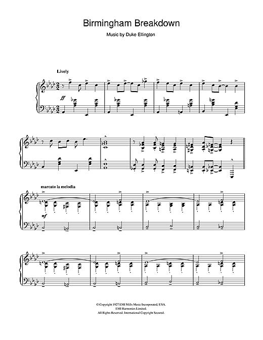 Duke Ellington Birmingham Breakdown sheet music notes and chords. Download Printable PDF.