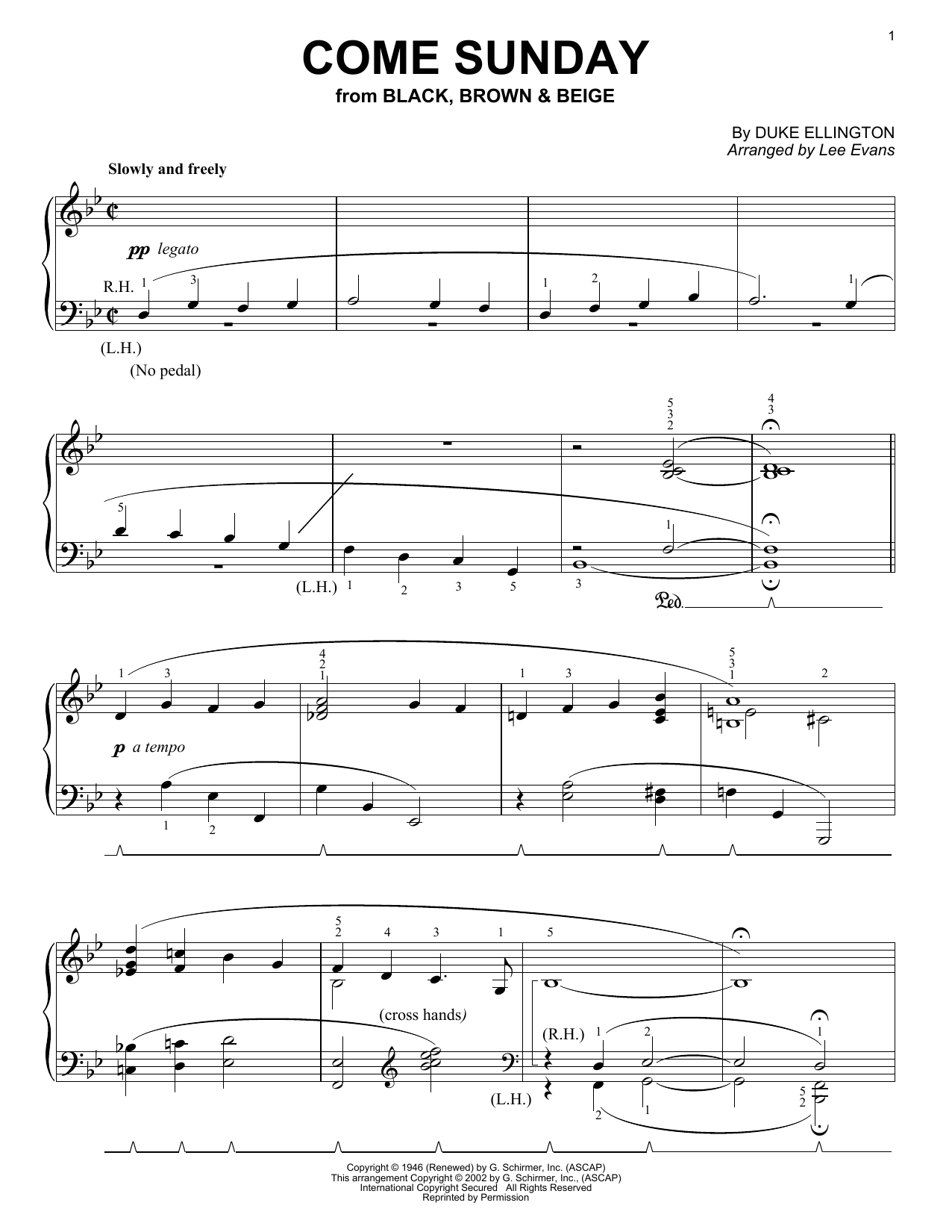 Duke Ellington Come Sunday sheet music notes and chords. Download Printable PDF.