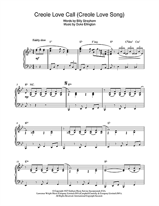Duke Ellington Creole Love Call (Creole Love Song) sheet music notes and chords