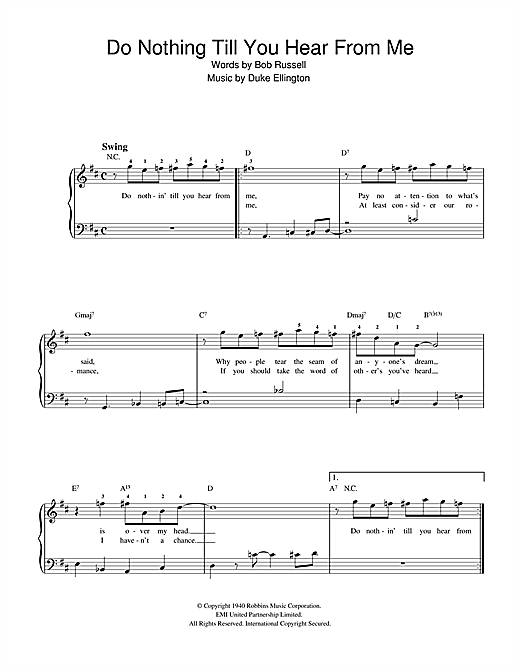 Duke Ellington Do Nothin' Till You Hear From Me (Concerto For Cootie) sheet music notes and chords. Download Printable PDF.