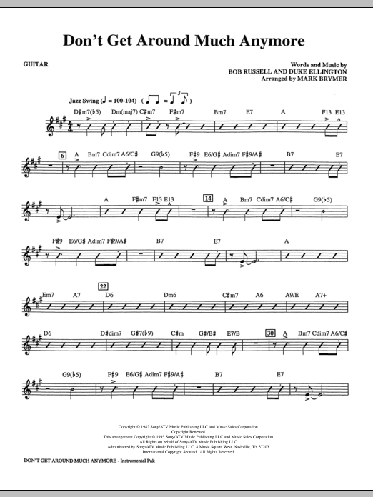 Mark Brymer Don't Get Around Much Anymore - Guitar sheet music notes and chords. Download Printable PDF.