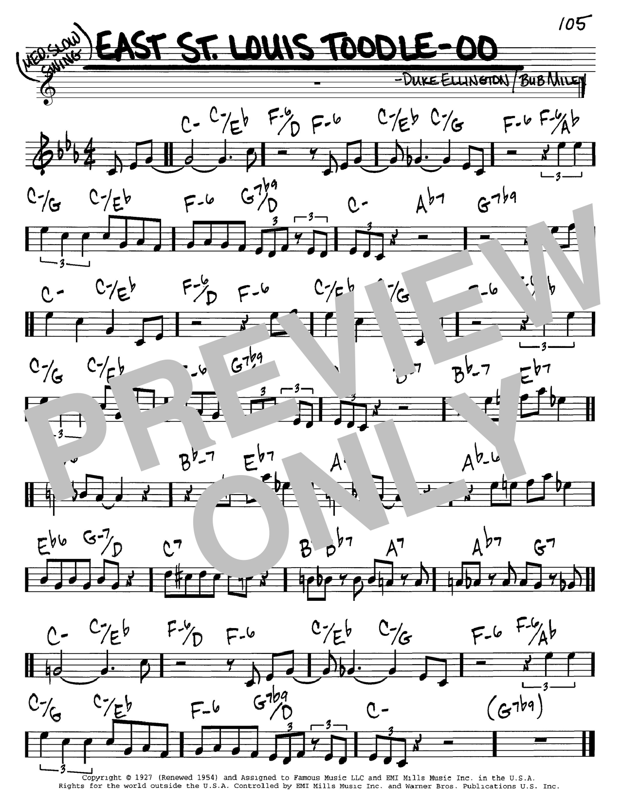 Duke Ellington East St. Louis Toodle-oo sheet music notes and chords. Download Printable PDF.