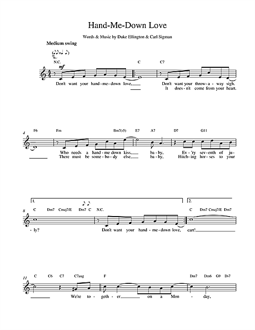 Duke Ellington Hand Me Down sheet music notes and chords. Download Printable PDF.