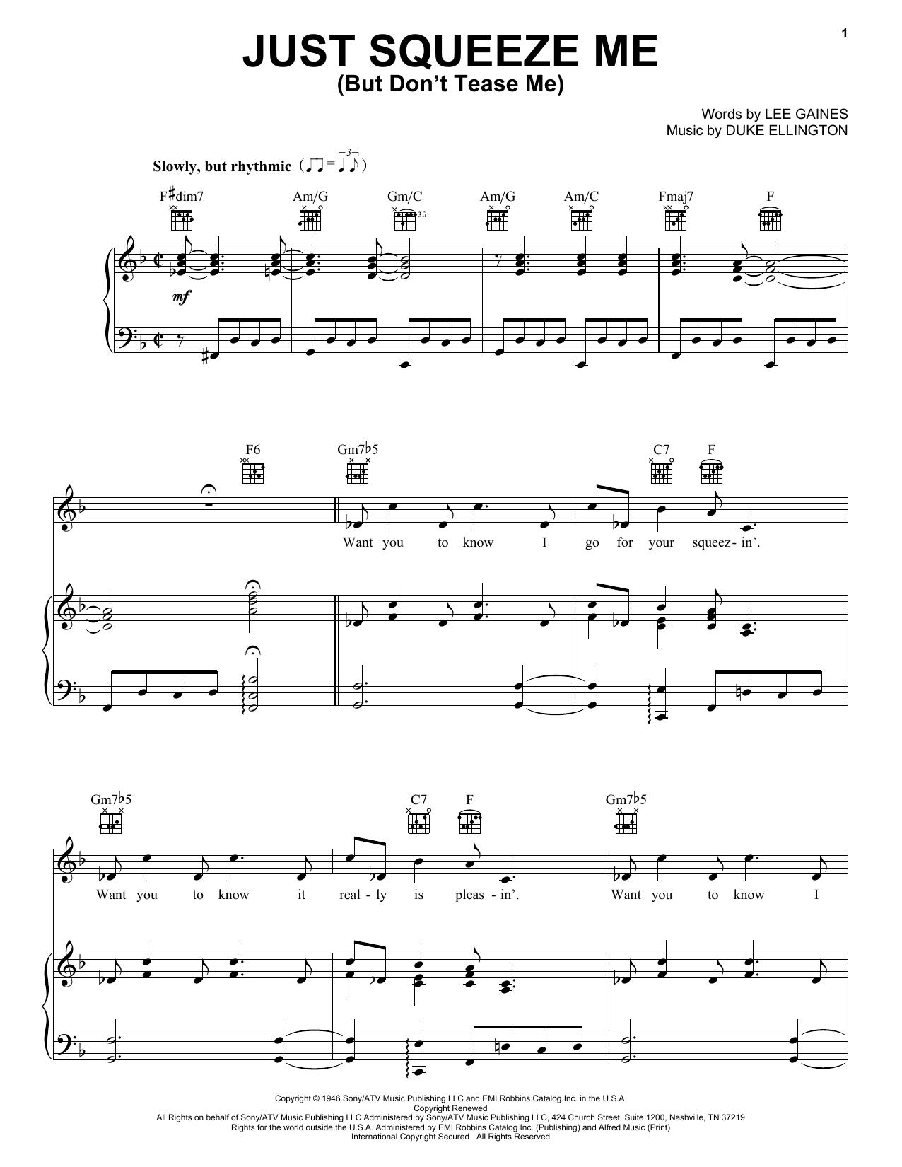 Duke Ellington Just Squeeze Me (But Don't Tease Me) sheet music notes and chords. Download Printable PDF.