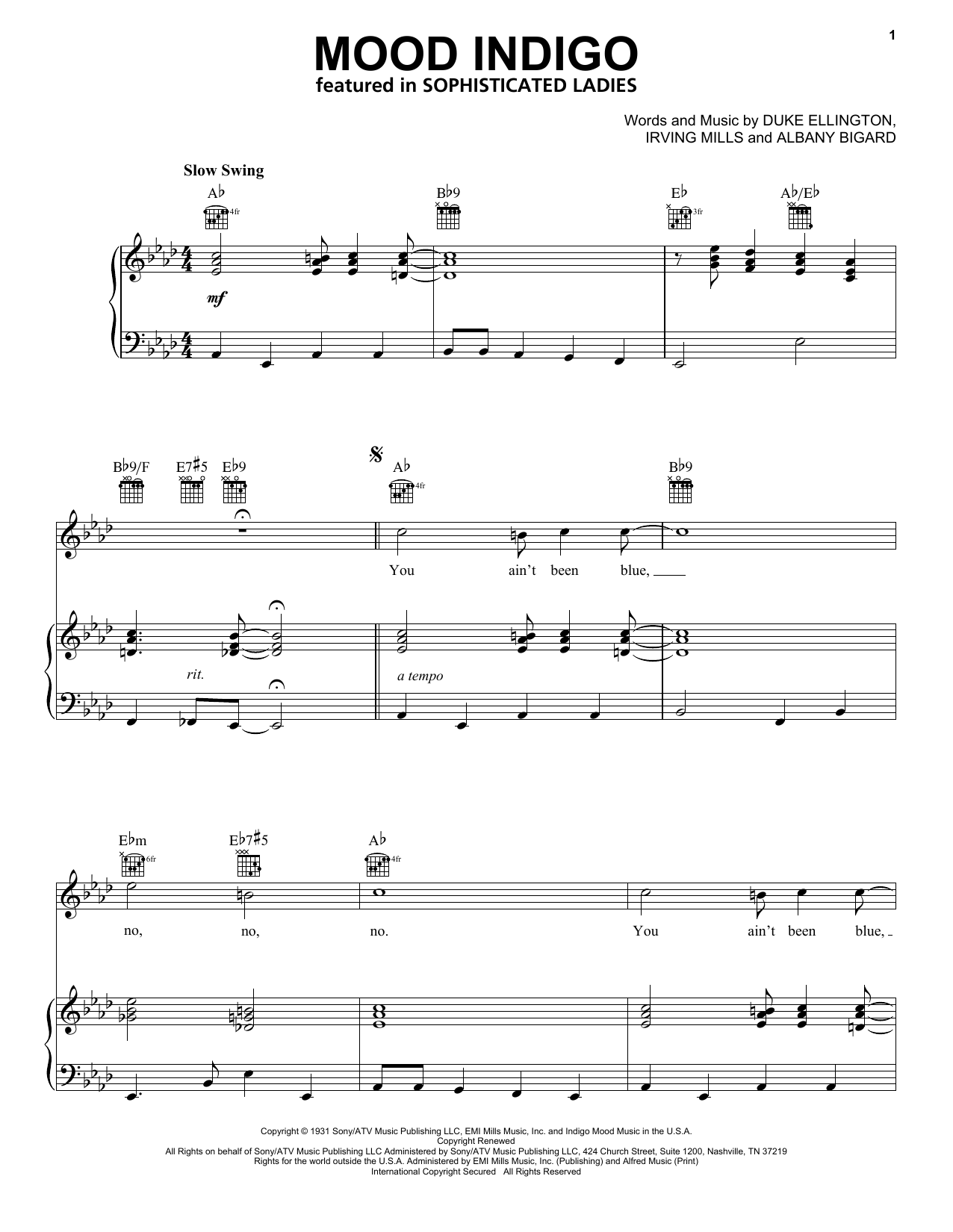 Duke Ellington Mood Indigo sheet music notes and chords. Download Printable PDF.