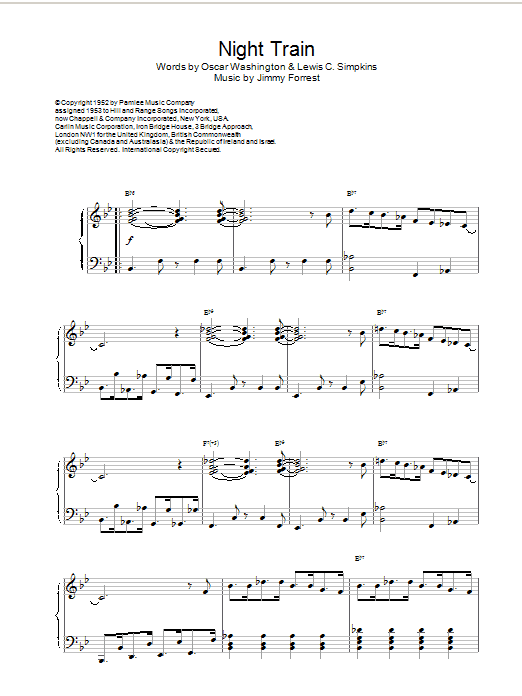 Jimmy Forrest Night Train sheet music notes and chords. Download Printable PDF.