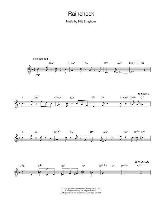 Duke Ellington Raincheck sheet music notes and chords. Download Printable PDF.