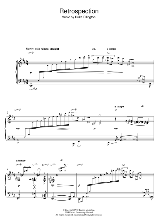 Duke Ellington Retrospection sheet music notes and chords. Download Printable PDF.