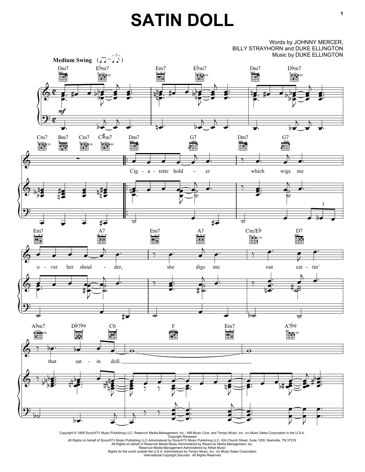 Duke Ellington Satin Doll sheet music notes and chords. Download Printable PDF.