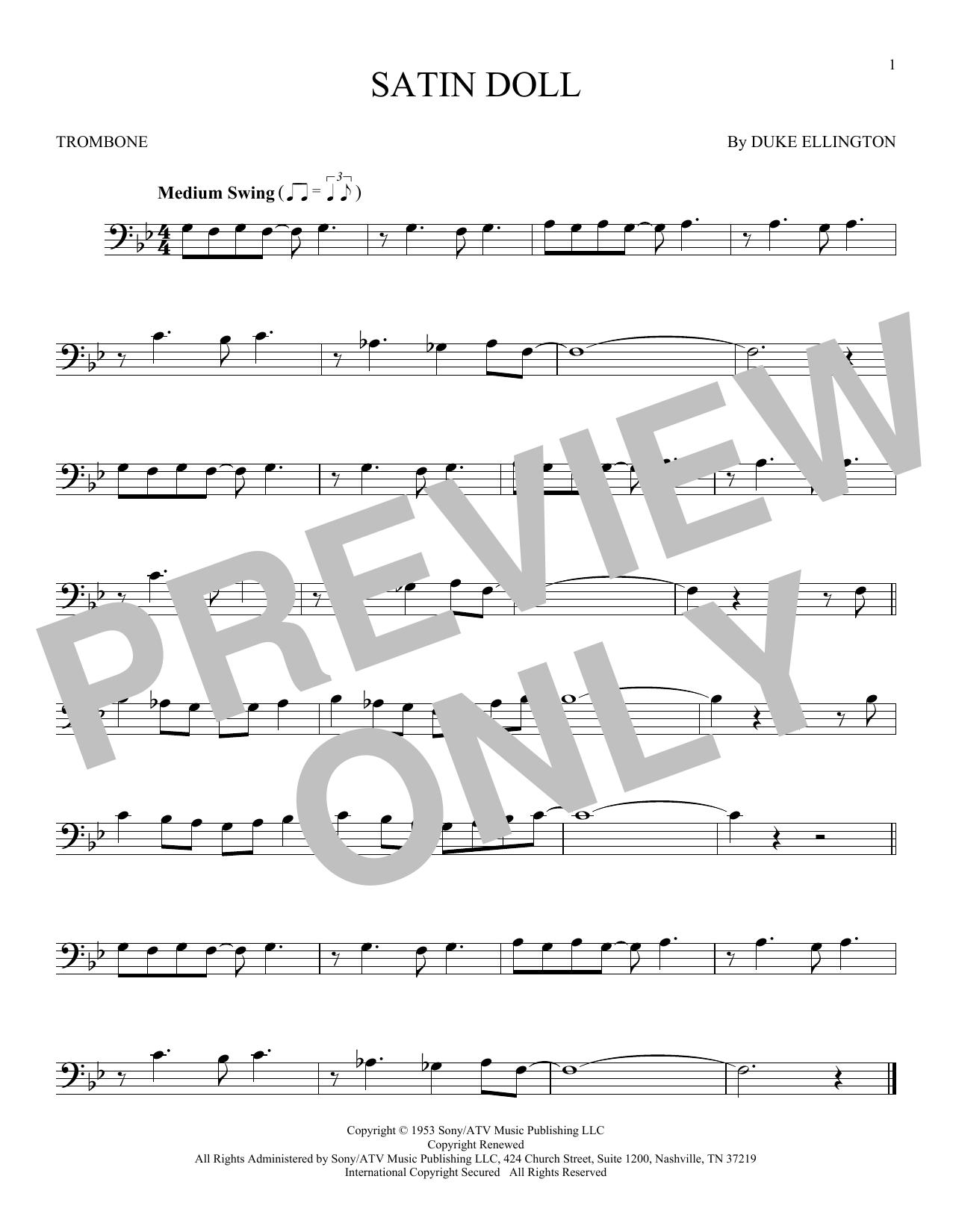 Duke Ellington 'Satin Doll' Sheet Music Notes, Chords | Download Printable  Trombone Solo - SKU: 168666