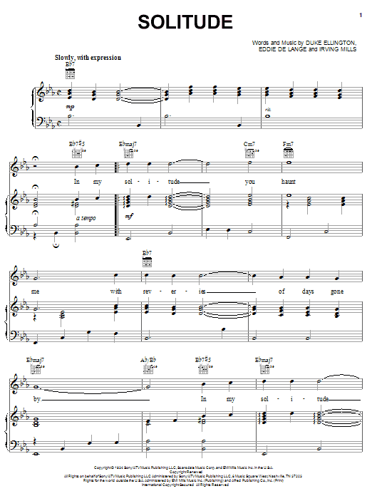 Duke Ellington Solitude sheet music notes and chords
