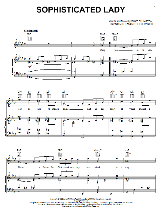 Duke Ellington Sophisticated Lady sheet music notes and chords. Download Printable PDF.