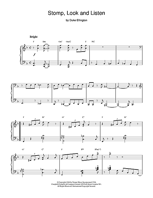 Duke Ellington Stomp, Look and Listen sheet music notes and chords
