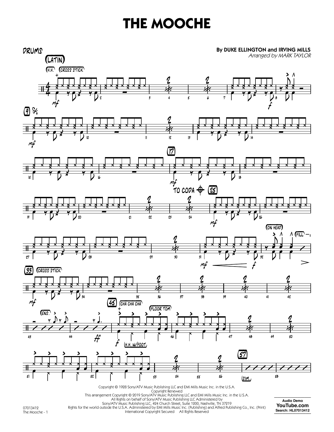 Duke Ellington The Mooche (arr. Mark Taylor) - Drums sheet music notes and chords. Download Printable PDF.