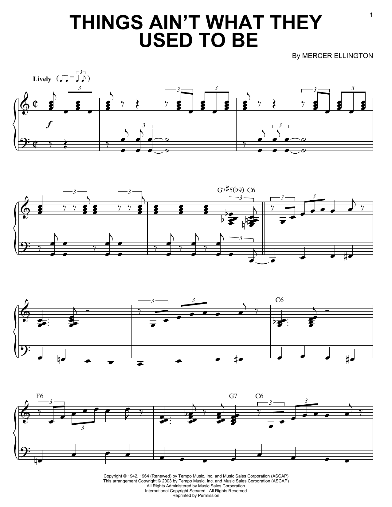 Duke Ellington Things Ain't What They Used To Be sheet music notes and chords. Download Printable PDF.