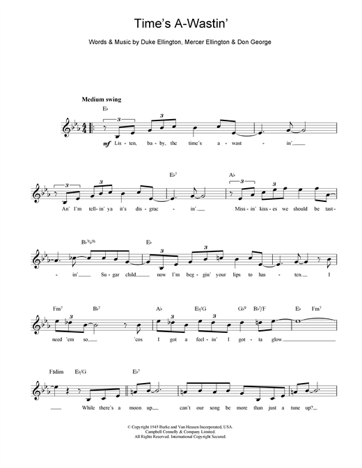 Duke Ellington Time's A Wastin' sheet music notes and chords. Download Printable PDF.
