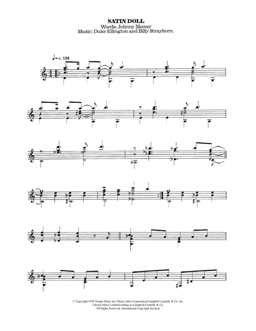 Duke Ellington & Billy Strayhorn Satin Doll sheet music notes and chords. Download Printable PDF.