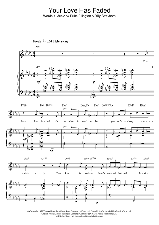 Duke Ellington & Billy Strayhorn 'Your Love Has Faded' Sheet Music Notes,  Chords | Download Printable Piano, Vocal & Guitar - SKU: 117882