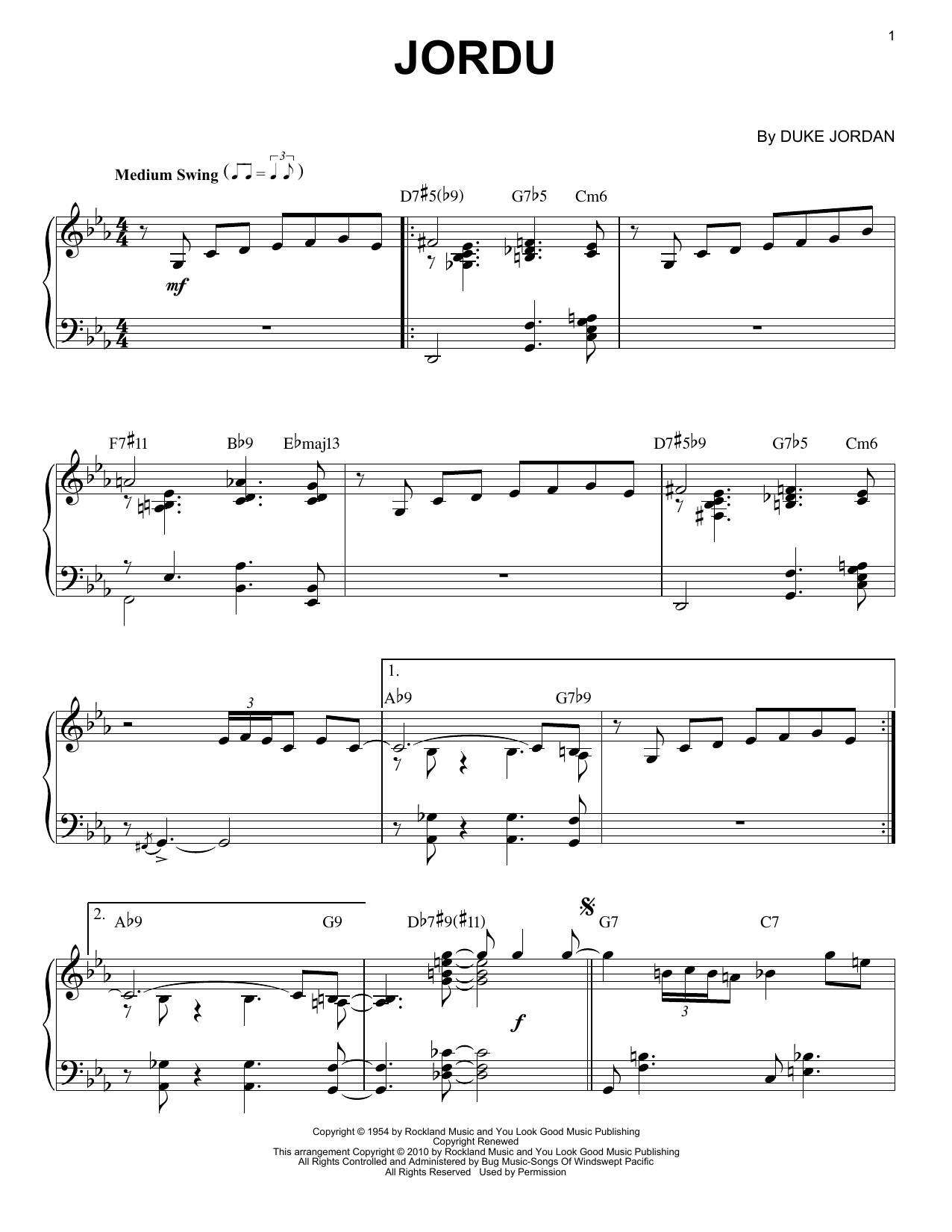 Duke Jordan Jordu (arr. Brent Edstrom) sheet music notes and chords. Download Printable PDF.