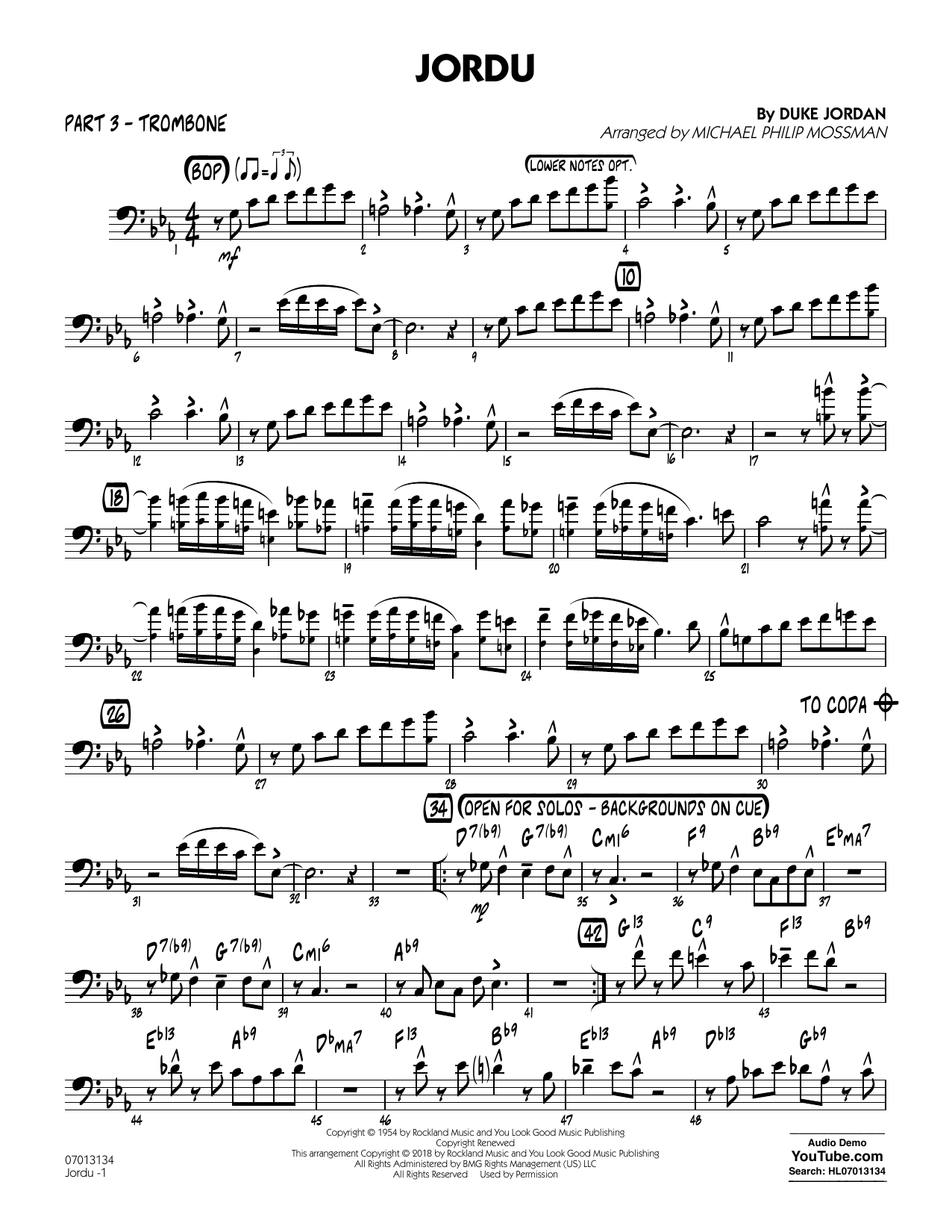 Duke Jordan Jordu (arr. Michael Mossman) - Part 3 - Trombone sheet music notes and chords. Download Printable PDF.